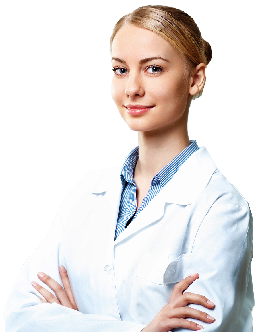 Laboratory assistant in white doctor's coat